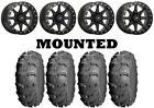 Kit 4 ITP Mud Lite XL Tires 27x10-14/27x12-14 on Sedona Storm Beadlock Black POL