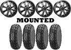 Kit 4 ITP UltraCross R-Spec Tires 27x10-14 on Raceline Mamba Black Wheels 1KXP