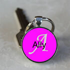 Handmade Ally Name Monogram Glass Dome Keychain (GDNKC0177)