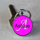 Handmade Ashlee Name Monogram Glass Dome Keychain (GDNKC0109)