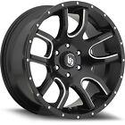 20x9 Black Milled LRG 108 5x5 +0 Wheels 35x12.50R20LT Tires