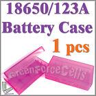 1 x 18650 123A plastic Battery Storage Case Box Purple