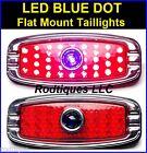 LED Blue Dot Flat Mount Taillights Turn Signal Running Brake Hot Rod C4148BD