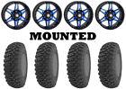 Kit 4 GBC Kanati Terra Master Tires 31x10-14 on STI HD7 Blue Wheels FXT