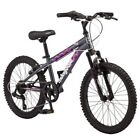 "20"" Girls Mountain Bike Mongoose Byte Bicycle Suspesion Twist Shifters 7-Speed"