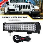 "PHILIPS 450W 15""INCH Tri Row LED Light Bar Spot Flood Offroad Fog Lamp Truck 14"""