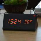 Electronic Digital Wood LED Alarm Clock Sounds Control Temperature Desk Decor US