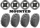 Kit 4 EFX MotoMax Tires 27x10-14/27x12-14 on Sedona Riot Machined Wheels POL
