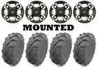 Kit 4 EFX MotoMax Tires 27x10-14/27x12-14 on Sedona Riot Machined Wheels H700