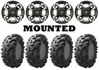 Kit 4 Kenda Bearclaw K299 Tires 27x9-12/27x11-12 on Sedona Riot Machined POL