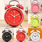 3D Numeral Metal Double Bell Alarm Clock Silent Bed Night Light Timer Tools New