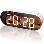WulaWindy Alarm Clock Digital Mirror Surface Dimmer Large LED Display with Dual