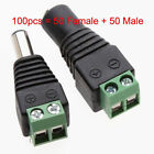 50Pairs Male Female 2.1x5.5mm DC Power Plug Jack Adapter Wire Connector for CCTV