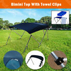 3 Bow Boat Bimini Top 6ft Canopy Cover 61''-66'' Free Clips Support Poles BB3N1
