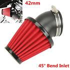 Universal Red 42mm 45° Bend Inlet Motorcycle Racing Cold Air Intake Filter Kit