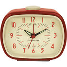 NEW Retro Red Alarm Clock Streamlined Look w/ Glow-In-The-Dark Hands & Batteries