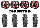 Kit 4 BKT AT 171 Tires 28x9-14 on Sedona Rukus Red 12mm Wheels TER