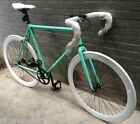 NEW R4 TURQUOISE & WHITE FIXIE W/ DROP BARS, SINGLE SPEED, 50CM