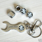 White Black British Flag Car Tire Valve Stem Air Dust Cap Cover Wrench Key Chain