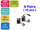 8 x HD CCTV, BNC To RJ45 Converter Video Audio Power TVI CVI AHD Video Balun