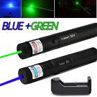5mw 532nm Green Laser Pointer + Blue Laser Pen 405nm Visible Beam 18650 Battery