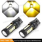 Pack2 7443 T20 Amber/Cool White 60W/pair Front Turn Signal Light Stock Replace