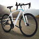 700c Road Bike Racing Bicycle Commuter Cycling 21Speed Steel White Best Gifts#