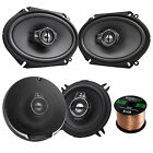 "Kenwood 6x8"" Oval 360W Speakers, 50FT Speaker Wire, Kenwood 6.5"" 3-Way Speakers"