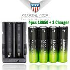 4pcs 3.7v 18650 Rechargeable Li-ion For Flash-light Battery Battery+Charger #