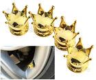4Pcs Gold Crown Car Wheel Air Tyre Valve Dust Caps Covers Rim Set