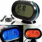 Car LCD Digital Clock In/Outdoor Thermometer Temperature Voltage Meter 12-24V