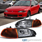 Fit 92-95 Honda Civic 2/3Dr Black Headlights Dark Corner Signal Head Lamps Pair