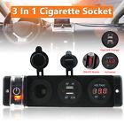 12/24V LED Cigarette Socket Power Switch Dual USB Power Charger Voltmeter Panel
