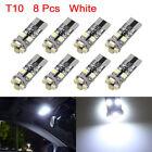 8Pcs 8 White 3528-SMD-LED T10 W5W Car Light Bulbs Canbus Error Free Interior