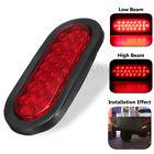 6'' 24 LED Oval Truck Trailer Stop Turn Brake Tail Light Rubber Mount 12V Red