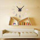Large Design 3D DIY Wall Clock Mirror Surface Sticker Round Home Office Decor