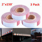 """3X High Conspicuity Reflective Tape Red/White DOT-C2 Truck Trailer 2""""x150ft Roll"""