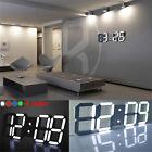 Modern Digital White LED Table Desk Night Wall Clock Alarm Watch 24 Hour Display
