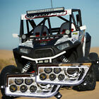 LED Headlight Chrome Lamps L/R for 15-16 Polaris RZR XP 1000 /RZR 900 Turbo