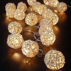 20 LED Warm White Rattan Ball String Fairy Lights Xmas Wedding Party Battery