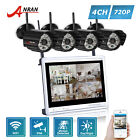 HD 1080P 4CH 12'' Monitor NVR Wireless 720P Security Camera System Outdoor P2P