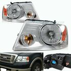 FIT 2004 2005 2006 2007 2008 FORD F150 CHROME HEADLIGHTS W/AMBER REFLECTOR LAMPS
