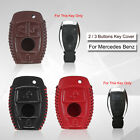 2 or 3 Buttons Real Leather Smart Remote Key Case Cover Fob For Mercedes Benz