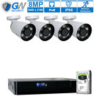 8 Channel 4K NVR (4) 8MP 2160P PoE IP Home Security Camera System 2TB