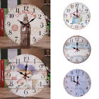 Retro Wooden Round Analog Wall Clock Living Room Bedroom Bar Decor Gift US STOCK