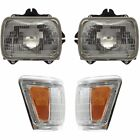 Headlight Kit For 1992-1995 Toyota Pickup Left and Right 4WD 4pc
