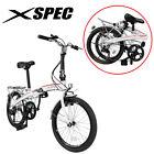 "Xspec 20"" 7 Speed City Folding Compact Bike Bicycle Urban Commuter Shimano White"