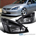 Fit 03-07 Honda Accord Headlights Driving Head Lamps Pair JDM Black Replacement