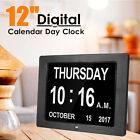 12'' Digital Calendar Wall Clock Electronic Alarm Auto Light Dimmer LCD Display