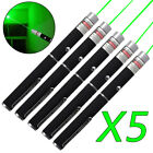 5Pack 1mw 532nm Green Laser Pointer Pen Military Visible Beam Light AAA Lazer